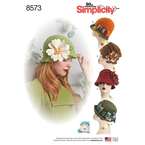 Hat Pattern - Simplicity Creative Patterns 8573 Misses' Flapper Hats in Three Sizes, S-M-L