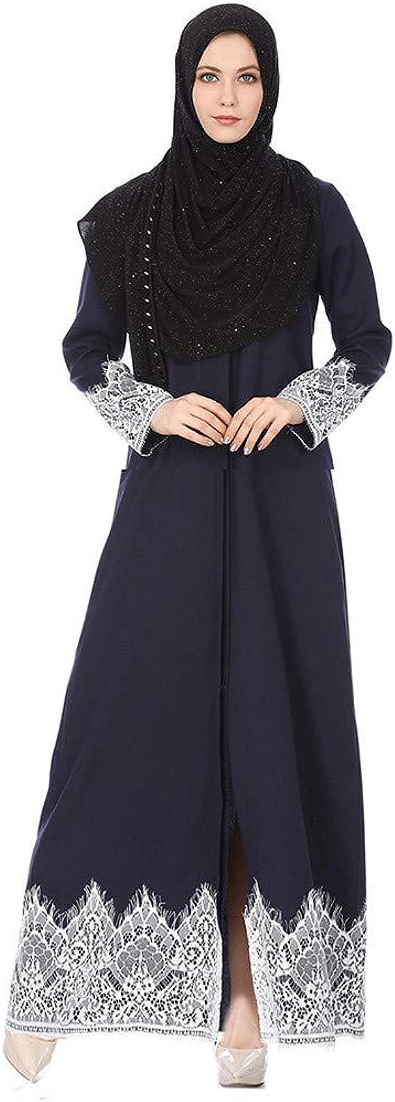 Zegeey Damen Muslimische MaxiKleid Langarm Spitze Abendkleider Elegant  Kleider Modest Muslim Frauen Hochzeit Kleid Kleidung Islamischen  Saudi-Arabien