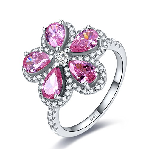 - Merthus Womens 925 Sterling Silver Created Pink Topaz Cluster Flower Ring