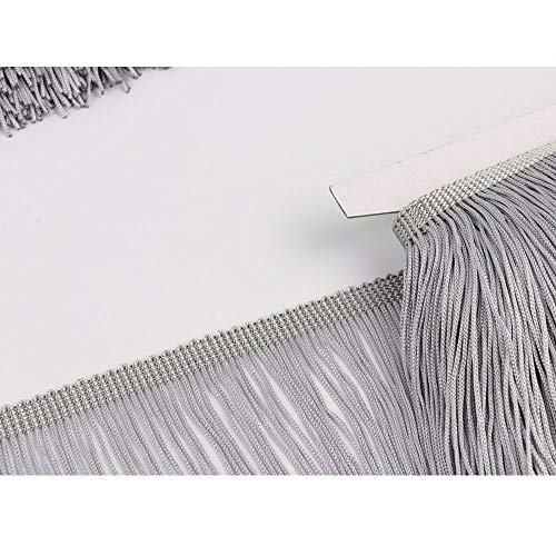 Heartwish268 Fringe Trim Lace Polyerter Fibre Tassel 6inch Wide 10 Yards Long for Clothes Accessories Latin Wedding Dress DIY Lamp Shade Decoration Black White Red(Gray) (Fiber Tassel Pack)