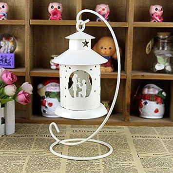 YUCH Eisen Art Candlestick Ausgehöhlt Hochzeit Laterne Ornamente, Weiß