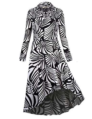 Hibelle Midi Dresses for Women, Vintage Fall Dress with Sleeve Cowl Neck Pleated Aline Empire Waist Asymmetrical High Low Hem Flowing Stretchy Casual Daily Wear Black White Medium