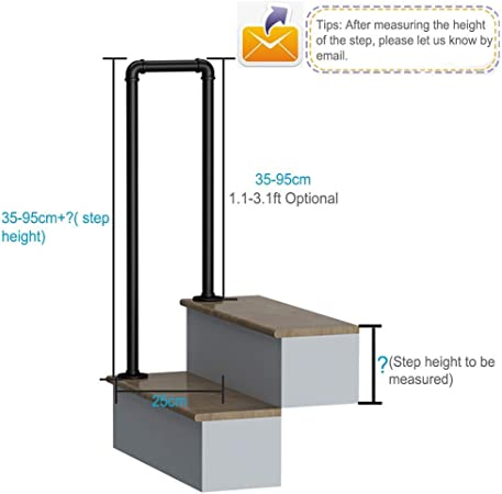 AFDK Outdoor Steps Stair Handrails for Corridor Outdoor Garden 35-95Cm Optional,35cm//1.1ft U-Type Wrought Iron Railing