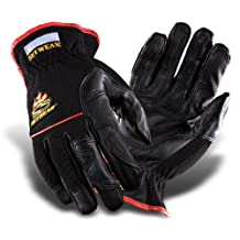 "SetWear Hot Hand, Heat Resistant Leather Gloves, Pair Small (Size 8) Approximatly 3-3.5""/ 7.62-8.89cm, Black/Black"