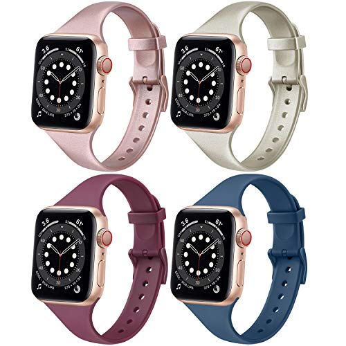 Oumida [Pack 4] Slim Bands Compatible with Apple Watch Bands 44mm 42mm 40mm 38mm for Women Men, Wristbands for iWatch Series 6 5 4 3 2 1 SE, Black,Navy blue,Gray,White, 38mm/40mm M/L