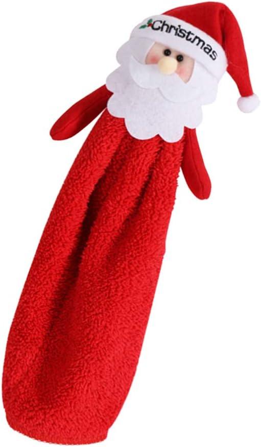 Asciugamano in pile in microfibra per la pulizia delle mani cucina bagno Amosfun per Natale Red 29 * 13cm
