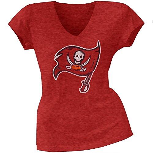 Tampa Bay Buccaneers Rocks (Tampa Bay Buccaneers - Womens Scrum Logo Premium Juniors V-neck T-shirt Large Red)