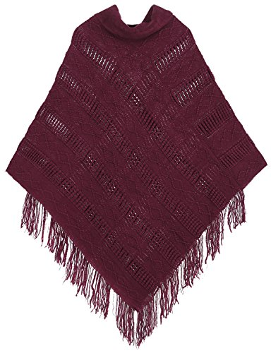 Livingston Women¡¯s Cozy Knitted Pullover Sweater Wrap Shawl w/Tassels, Burgandy