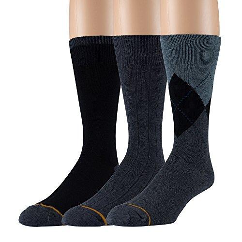 Gold Toe Men's Cotton 3 Pack Dress Socks Solid Argyle Striped Shoe Size 6-12 (Navy (A) 3 Pair) ()