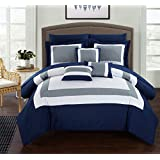 Chic Home Duke 10 Piece Comforter Set Complete Bed in a Bag Pieced Color Block Patterned Bedding with Sheet Set And Decorative Pillows Shams Included, Queen Navy
