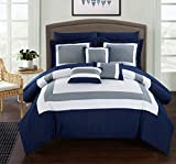 Chic Home CS1469 10 Piece Duke Patchwork Color Block Complete Queen Bed in a Bag Comforter Set Navy Sheets Included