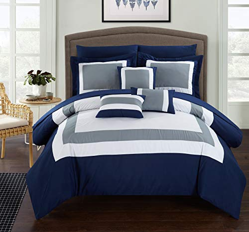 Chic Home CS1469 10 Piece Duke Patchwork Color Block Complete Queen Bed in a Bag Comforter Set Navy Sheets Included ()