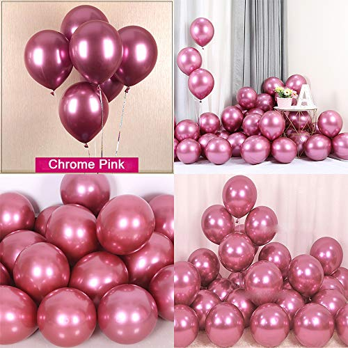 Chrome Metallic Balloons for Party 50 pcs 12 inch Thick Latex balloons for Birthday Wedding Engagement Anniversary Christmas Festival Picnic or any Friends & Family Party Decorations-Metallic Pink