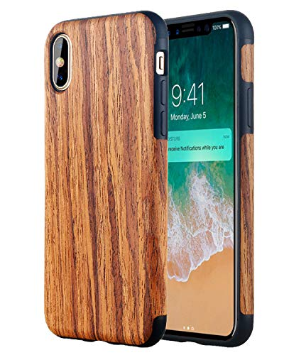 Lontect Compatible iPhone Xs Max Case Slim Matte Shock Absorbing Flex TPU Non Slip Wood Tactile Extra Grip Rubber Bumper Case Cover for Apple iPhone Xs Max 2018 6.5 OLED Display, Rosewood