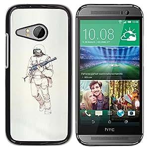 GOODTHINGS ( NO PARA HTC ONE M8 ) Funda Imagen Diseño Carcasa Tapa Trasera Negro Cover Skin Case para HTC ONE MINI 2 / M8 MINI - ametralladora guerrero ciencia ficción muerte