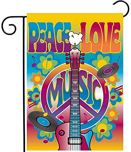 Starodet Peace Love Symbol Guitar Dove Woodstock Music and Art Fair Garden Yard Flag 12 x 18 Inch Polyester Welcome House Flag Banners for Patio Lawn Outdoor Home Decor]()
