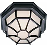"Trans Globe Lighting 40582 RT Outdoor Benkert 5"" Flushmount Lantern, Rust"