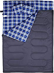 """BESTEAM Double Sleeping Bag, 3 Seasons, Flannel, 86.6""""x59"""" with 2 Pillows and Compression Bag, Water"""