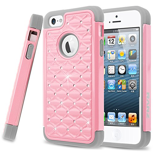 iPhone SE Case, iPhone 5 / 5S Case, RANZ Grey/ Pink Spot Diamond Studded Bling Crystal Rhinestone Dual Layer Hybrid Cover Silicone Rubber Skin Hard Case For Apple iPhone SE / iPhone 5/ 5s