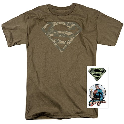 Popfunk Superman Digital Camo Logo S Shield Brown T Shirt (Small) ()