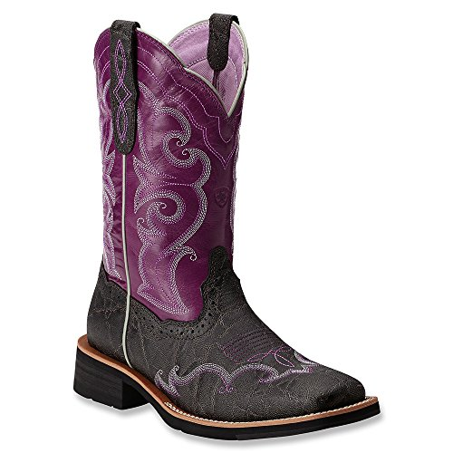 Ariat Women's Unbridled Rally Cowgirl Boot Square Toe Chrcl Grey US