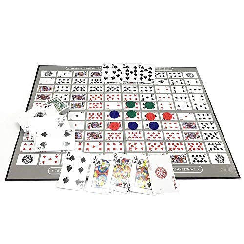 Betfandeful 254 Pcs Sequence Board Game, Big Board Family Game Toy, Table Game Pattern Big Chess Piece English Sequence Game Chess - 50x38CM