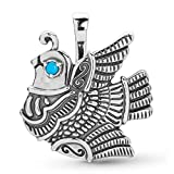 American West Sterling Silver & Turquoise Feathered Quail Convertible Pin & Pendant Enhancer