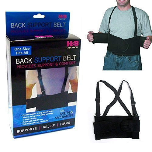 1 Back Support Brace Work Belt Adjustable Waist Lumbar Heavy Lift Suspenders New by ATB by ATB