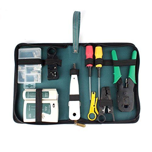 9pcs RJ45 RJ11 CAT5 LAN Network Tool Kit Crimper Stripper Cable Tester Set
