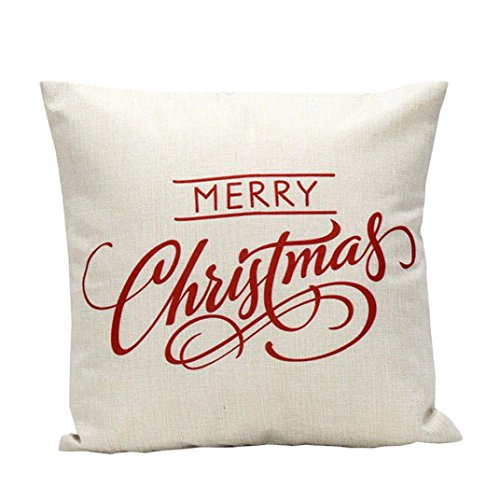 "18"" x 18"" Vintage Christmas Letter Pillow Case,Linen Blend Sofa Bed Home Decoration Festival Cushion Cover Home Decor With Invisible Zipper (white)"