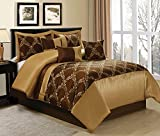 7 Piece Claremont Medallion Design Bed in a Bag Brown/Gold Comforter Sets Queen