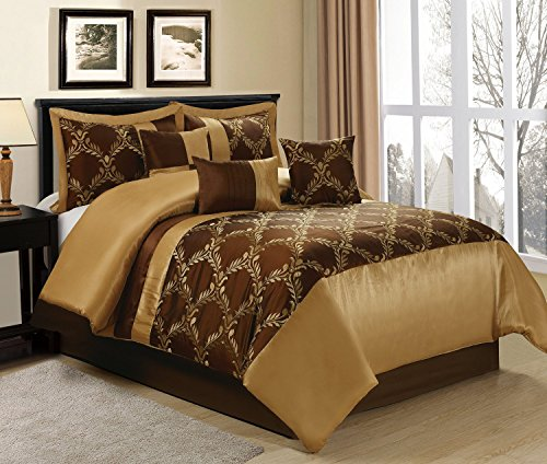 Gold Comforter 7 Piece Queen (7 Piece Claremont Medallion Design Bed in a Bag Brown/Gold Comforter Sets Queen King CalKing (King, Brown))