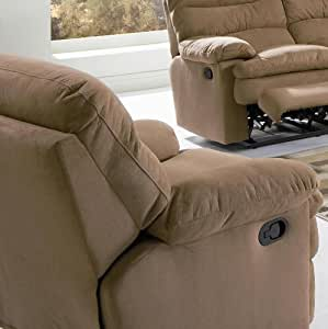 Recliner Sofa Chair with Overstuffed Seat in Brown Microfiber Fabric