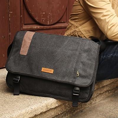 98caecbc268b Vonxury Canvas Mens Messenger Bag Vintage 15 inch Laptop Bag Large Satchel  Bag