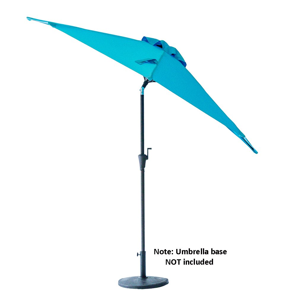 FLAME SHADE 9 Half Round Outdoor Patio Market Umbrella with Tilt for Balcony Deck Garden or Terrace Shade, Aqua Blue