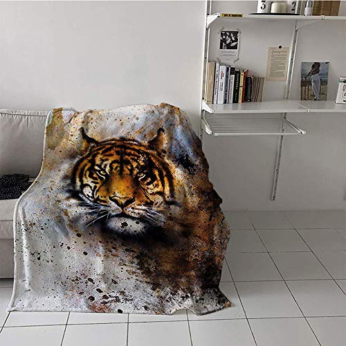 (Khaki home Children's Blanket Microfiber Print Artwork (60 by 70 Inch,Tiger,Wild Beast Looking Straight into The Eyes of The Viewer Angry Looking Panthera Tigris,Multicolor)