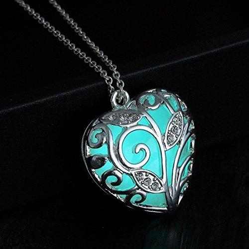 Leuchtschmuck - Nachleuchtendes Herz, Selbstleuchtendes Schmuckstück mit Kette, Herz Anhänger, Glühschmuck