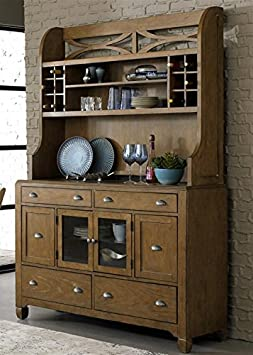Town & Country Hutch & Buffet in Distressed Sandstone w White