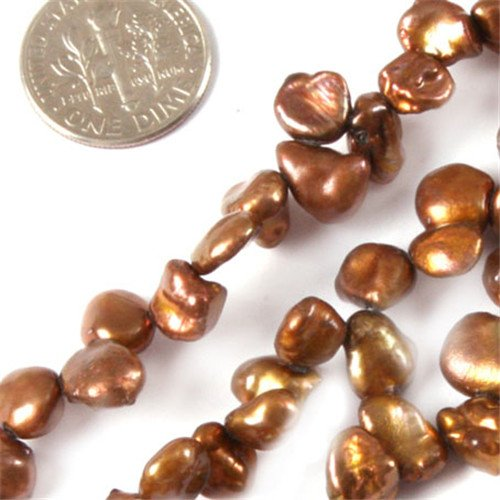 GEM-inside Brown Freshwater Pearl Gemstone Loose Beads Natural Energy Power Beads For Jewelry Making FreeForm 6X8mm 15