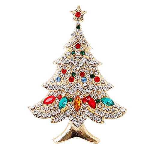SCASTOE Vintage Colored Christmas Tree Rhinestone Brooch Pin Wedding Party (Vintage Christmas)