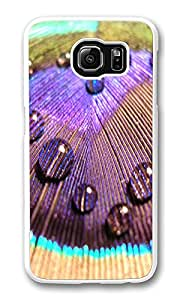 VUTTOO Rugged Samsung Galaxy S6 Case, Peacock Colorful Feather Dew Clear Plastic Hard Case Back Cover for Samsung Galaxy S6