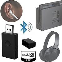 Low latency Bluetooth dongle wireless audio transmitter for Nintendo Switch PS4 PC Mac CSR APTXLL solution (Nintendo Legacy Transparent Purple)