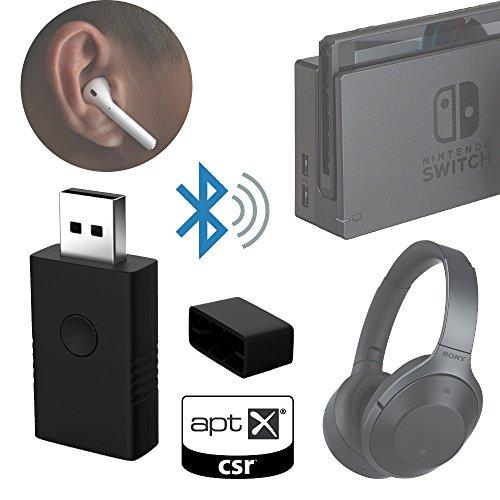 Low latency Bluetooth dongle wireless audio transmitter for Nintendo Switch PS4 PC Mac CSR APTXLL solution (Nintendo Legacy Transparent Purple) by Yoilq