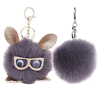 BodyJ4You 2PCS Faux Fur Keychain Grey Pom Pom Fluffy Fox Ball Purse Wallet  Car Key Clasp 94370f968cb83