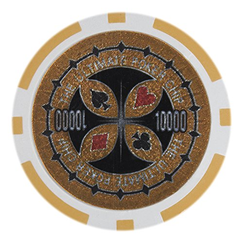 Brybelly Laser Inlay Poker Chips Heavyweight 14-gram Clay Composite - Pack of 50 ($10000 Orange)