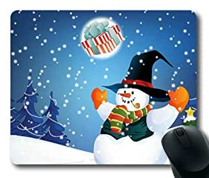 Christmas Snowman Rectangle Mouse Pad by eeMuse