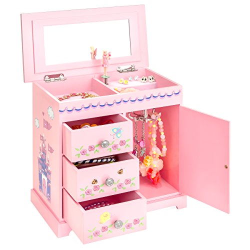 Best Choice Products Wooden Fairy Castle Toy Musical Jewelry Box w/ 3 Pullout Drawers - (Wooden Fairy Castle)