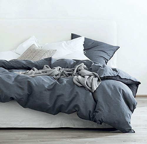 Washed Cotton Chambray Duvet Cover Solid Color Casual Modern Style Bedding Set Relaxed Soft Feel Natural Wrinkled Look (King, Navy Blue) (Natural Color Bedding)