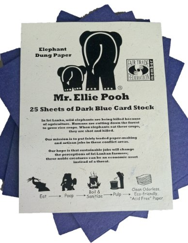 Midnight Elephants (Mr. Ellie Pooh Elephant Dung Paper Card Stock, Midnight Blue (CS-Dark Blue))