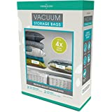 Vacuum Storage Bags: 110 MICRON (35% Thicker); Stronger, Higher Quality Space Savers; 5 pack (Large, XL) - by Viridescent. Makes Saving Space Easy! Pack, Store & Protect Clothing, Bedding & Luggage. 100% MONEY BACK GUARANTEE